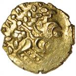 Little Horned Serpent. Sills dies 1/3. c.55-45 BC. Celtic gold quarter stater. 12mm. 1.30g.