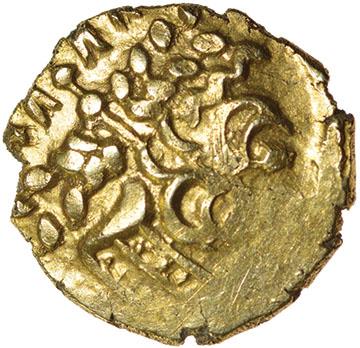Little Horned Serpent. Sills dies 1/3. c.55-45 BC. Celtic gold quarter stater. 12mm. 1.30g.
