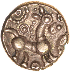Corded Crescents. c.55-45 BC. Celtic gold quarter stater. 9mm. 1.01g. - Image 2 of 2