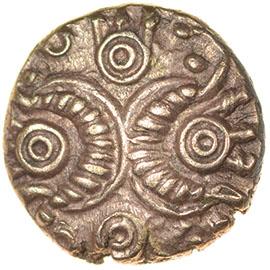 Corded Crescents. c.55-45 BC. Celtic gold quarter stater. 9mm. 1.01g.