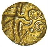 Selsey Two Faced. No Bars Type. c.55-45 BC. Celtic gold stater. 16-18mm. 5.96g.