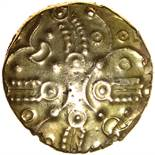 Andoco Phallic Bucranium. Sills class 1, dies 1/4. c.20-1 BC. Celtic gold stater. 18mm. 5.51g.