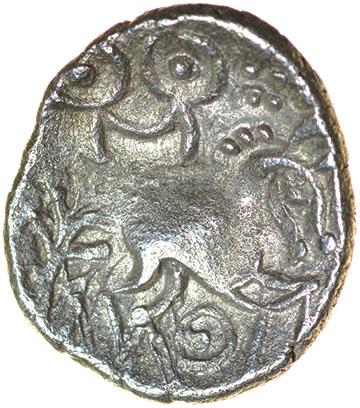Freckenham Smiler. Talbot EBH unit, die-group 1. c.30-10 BC. Celtic silver unit. 12-14mm. 1.13g. - Image 2 of 2