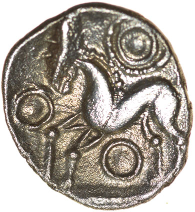 W-Forelegs Proto Boar. Rich Type 16a. c.55-45 BC. Celtic silver unit. 14mm. 1.37g. - Image 2 of 2