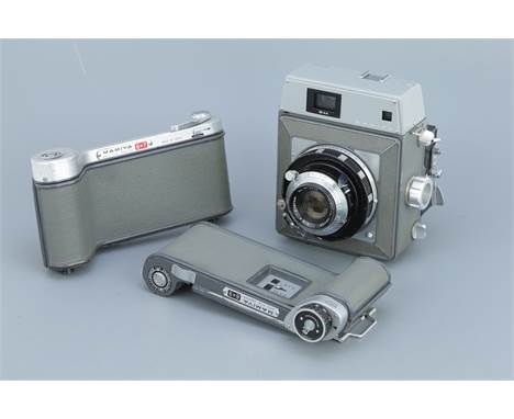 A Mamiya Press Medium Format Camera, with a Mamiya Sekor f/3.5 90mm lens, body, G-VG, rangefinder patch bright, with cut film