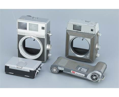 Two Mamiya Press Medium Format Camera Bodies, one Super 23, body, G, viewfinder slightly cloudy, rangefidner patch bright, wi