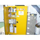 6' double door CABINET & CONTENTS various paints, adhesives, fillers, solvents and 4 drawer FILING