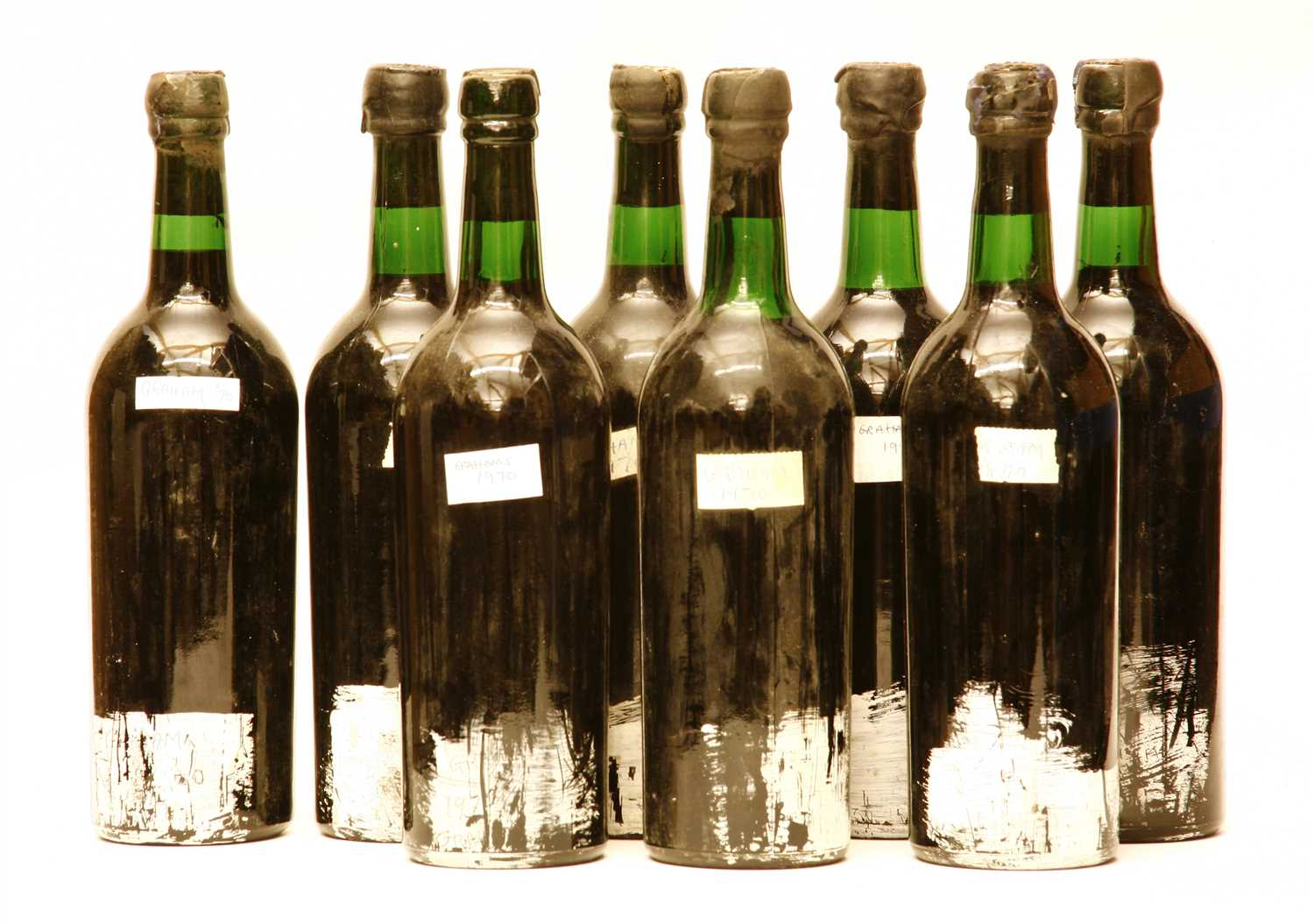 Lot 49 - Graham's, 1970, eight bottles (labels lacking, details on capsules, some capsule damage)