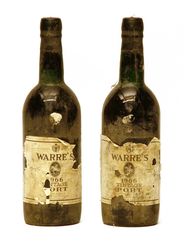 Lot 61 - Warre's, 1966, two bottles (damaged labels)