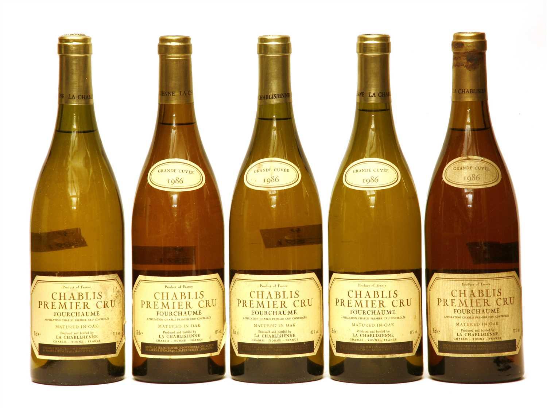Lot 12 - La Chablisienne, Chablis Premier Cru, Fourchaume, 1986, five bottles (one lacking date label)