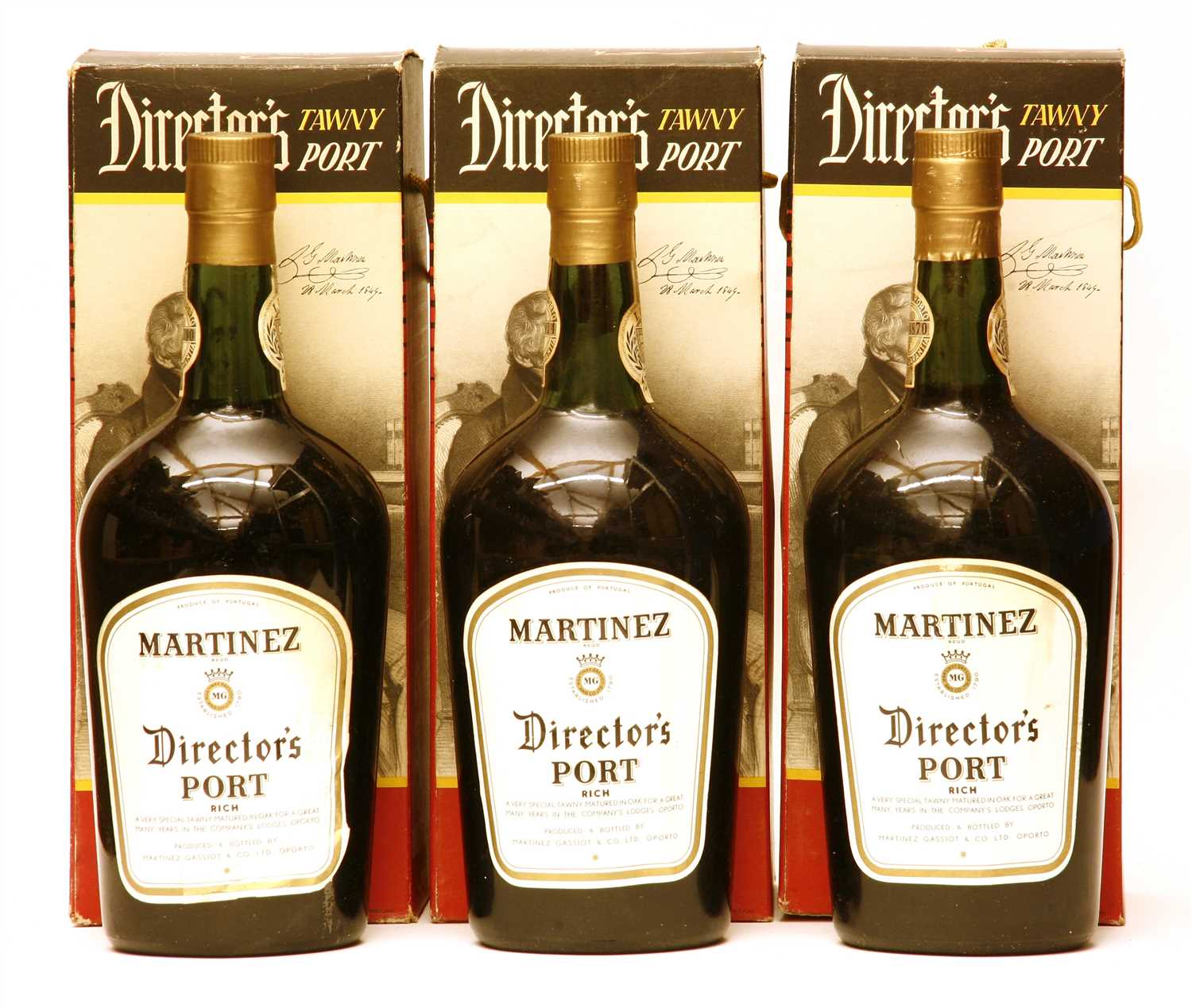 Lot 50 - Martinez, Director's Port, six bottles (each boxed)