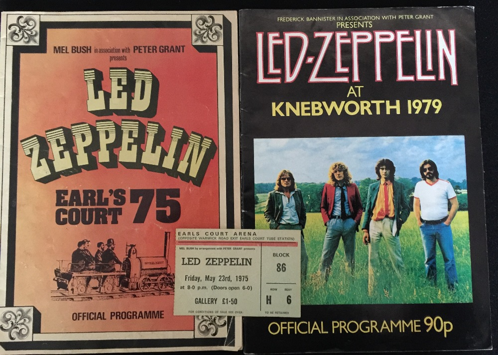 Led Zeppelin A Programme And Ticket From Their 1975