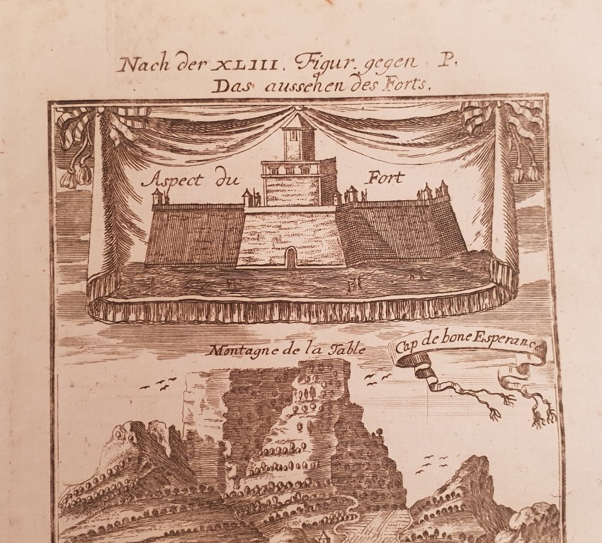 Lot 26 - Mallet Allain Manesson (1630-1706) CAP DE BONE ESPERANCE View of Cape of Good Hope of 1719 by Allain