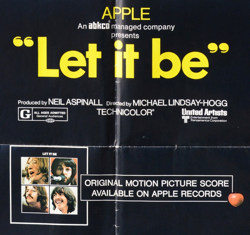 Lot 18 - Poster: THE BEATLES LET IT BE Full colour unbacked poster on a black background - folio 27 x41