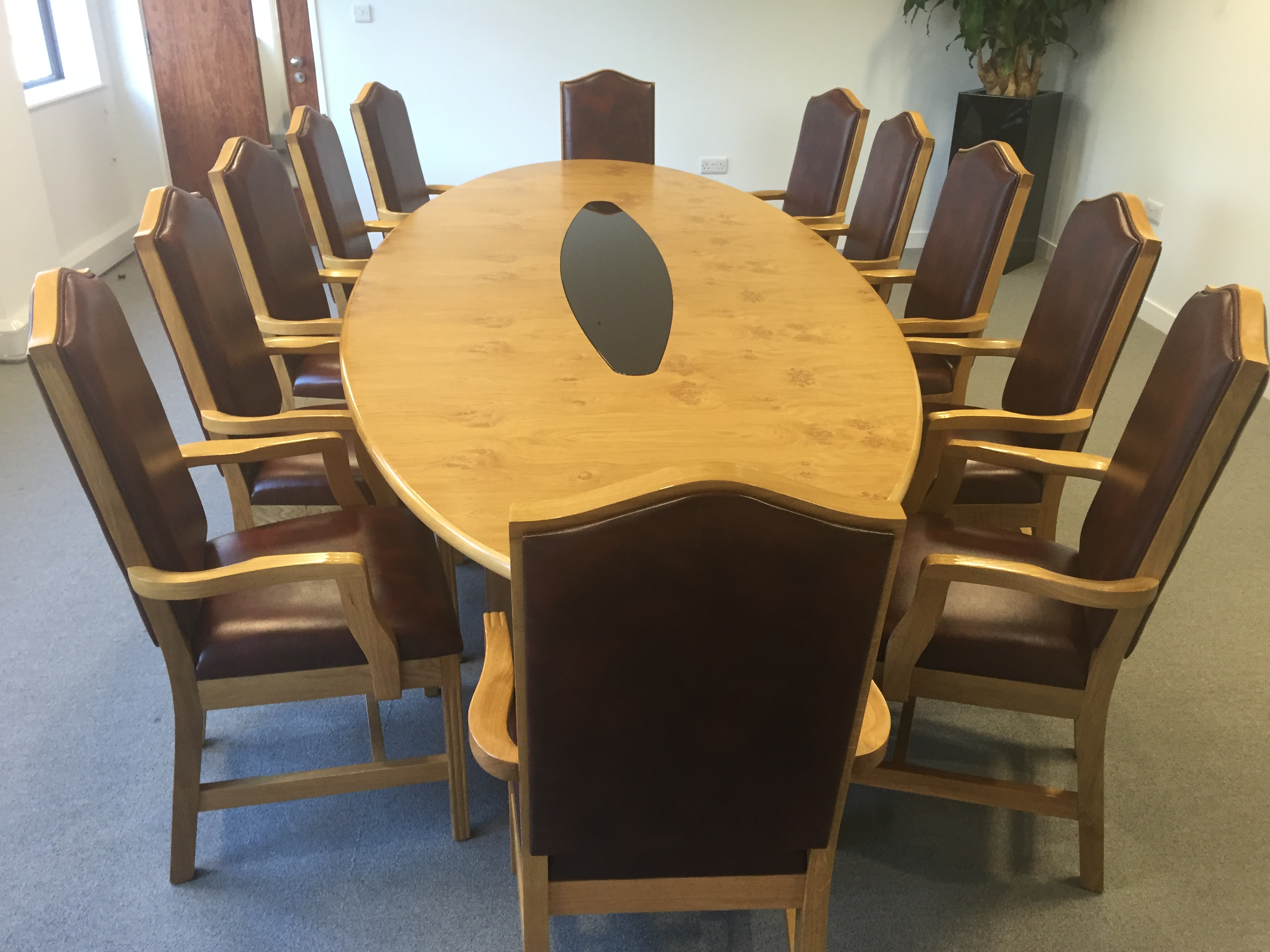 Lot 1 - Boardroom Table 3.5m x 1.4m (dismantled) and 12 x M2 Mayfair armchairs to match light rust