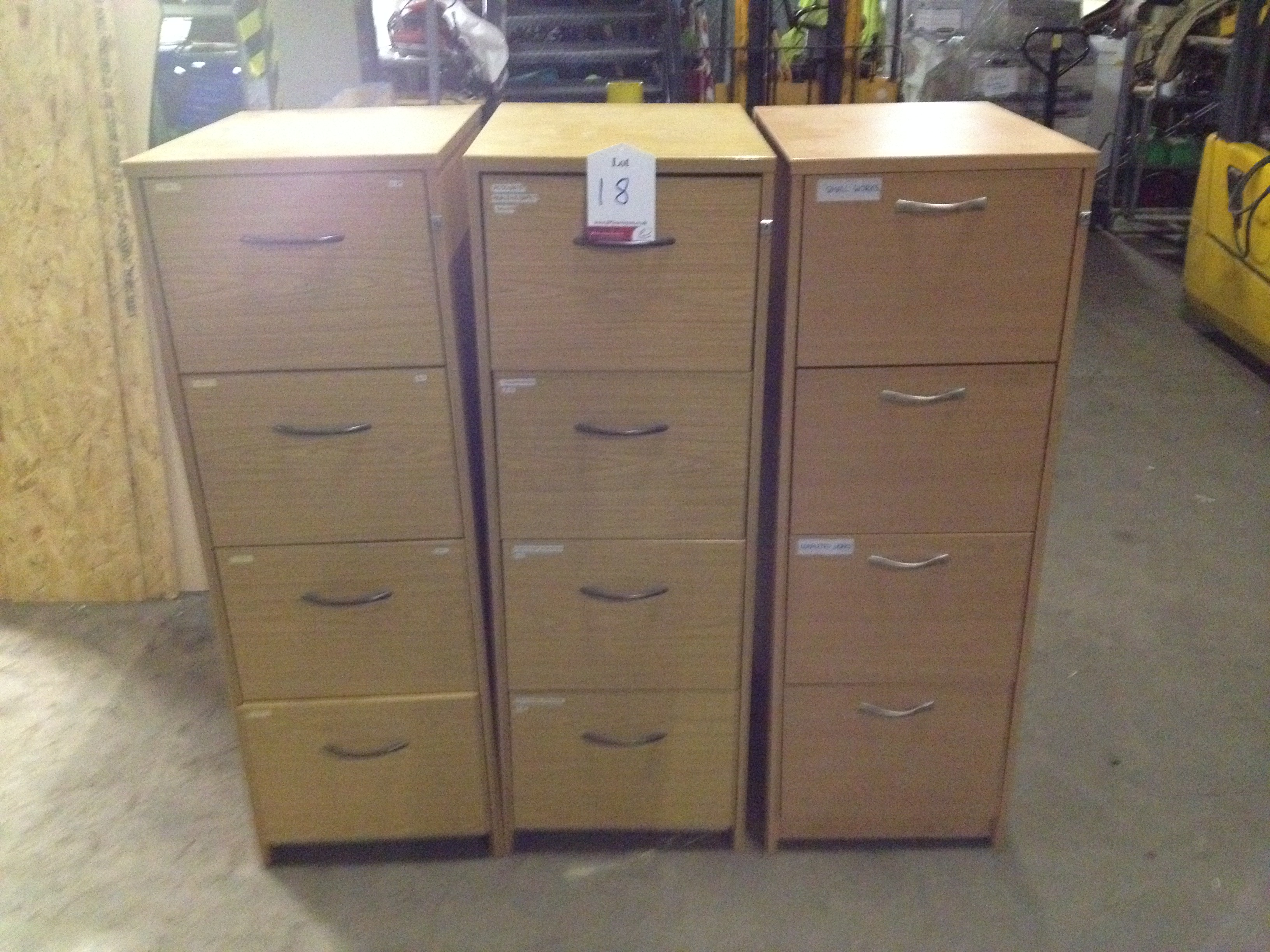 Lot 18 - 3 x 4 Drawer Vertical Wood Effect Filing Cabinets