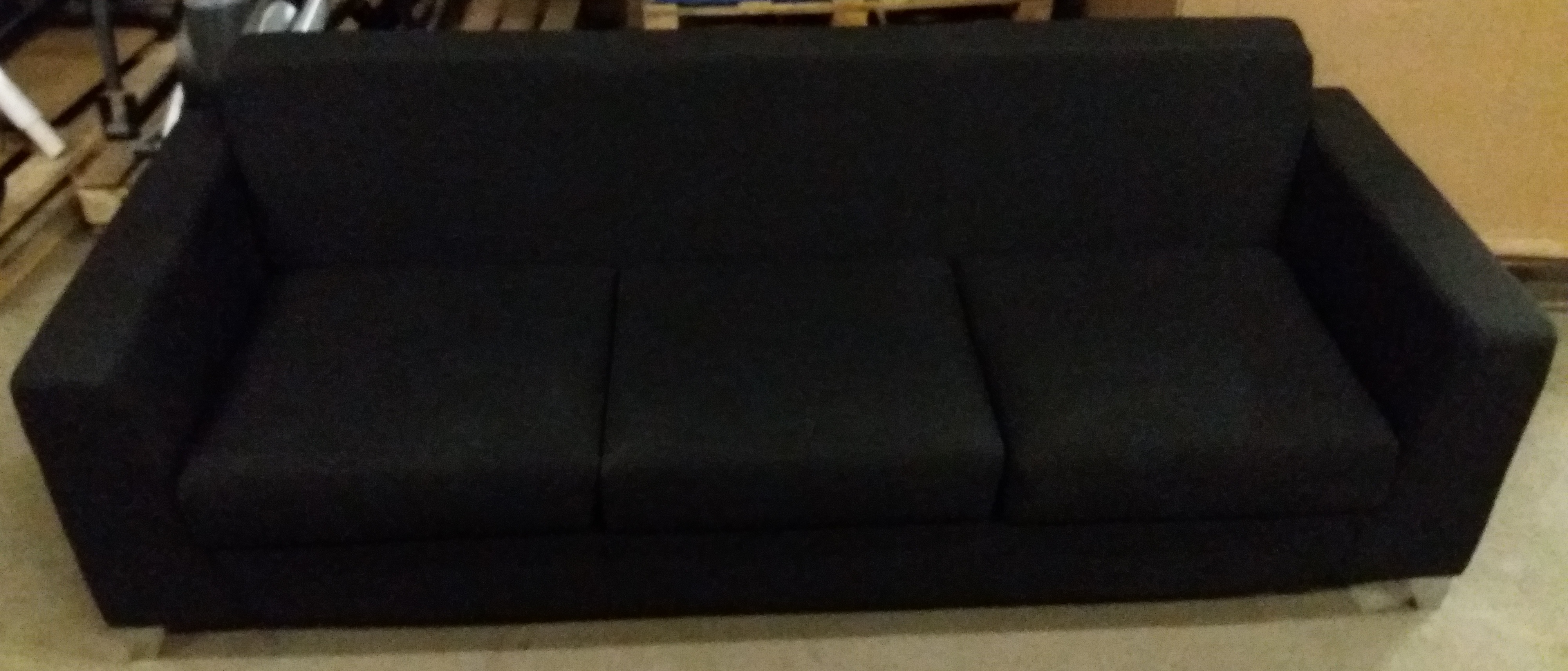 Lot 14 - 3 Seat Synergy Black Fabric Sofa