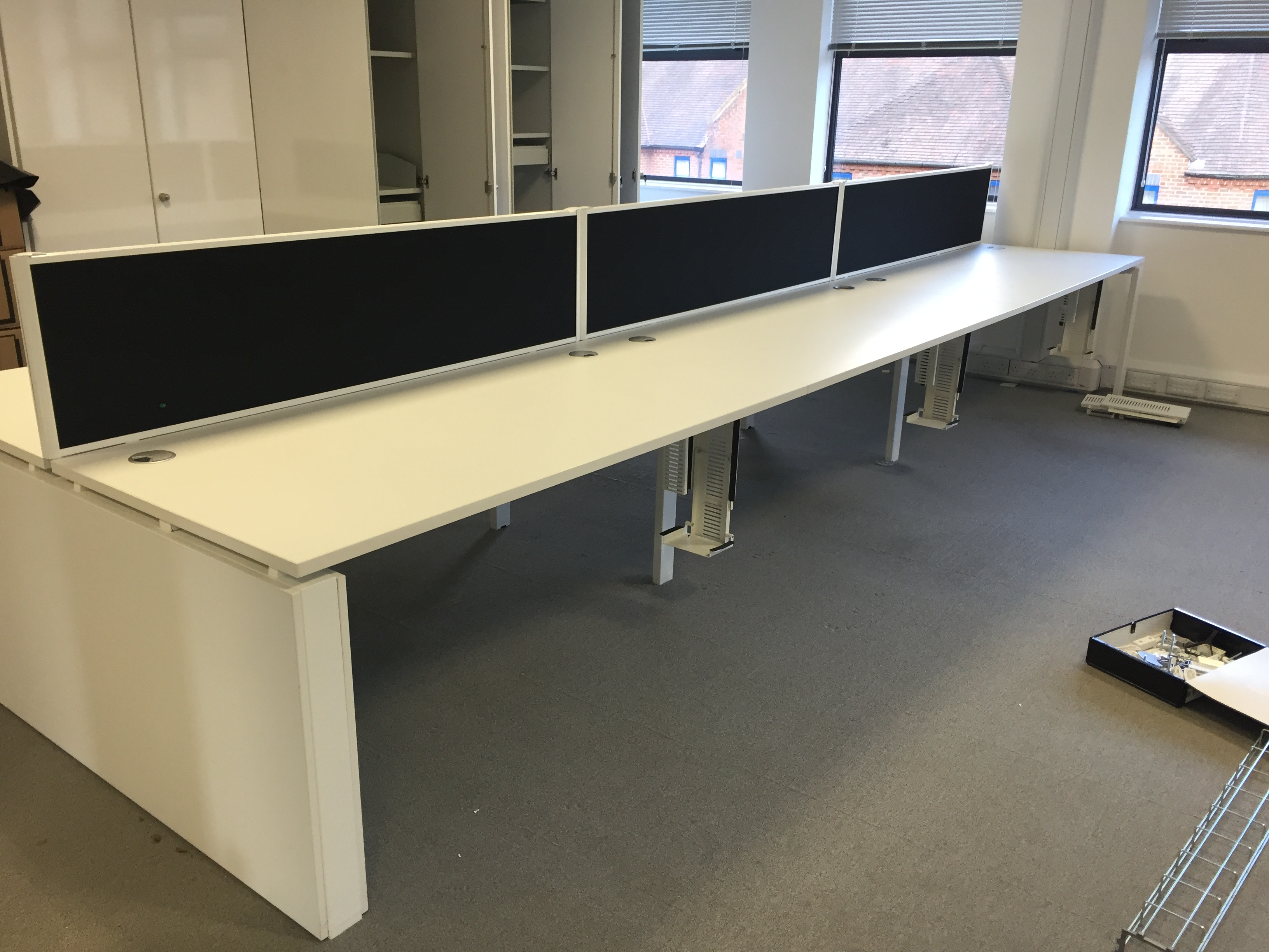 Lot 10 - 6 Person Office Work Station with 6 x 2 drawer under desk filing cabinets (dismantled)