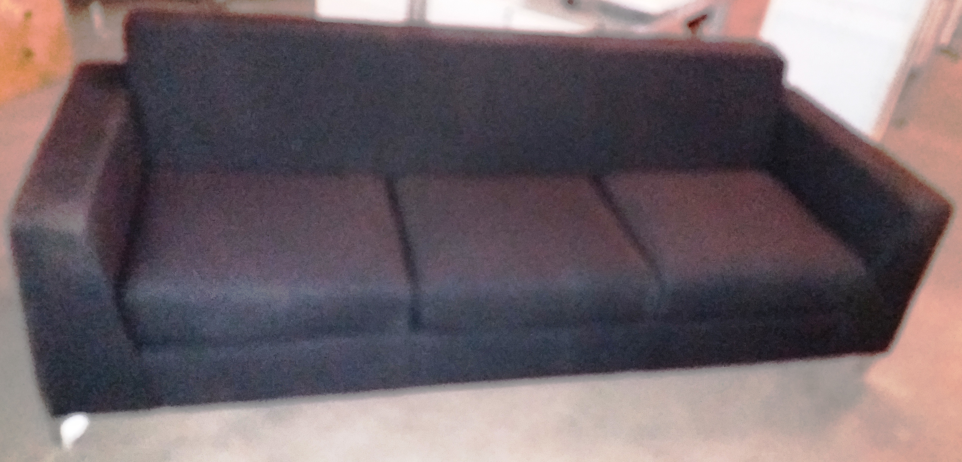 Lot 13 - 3 Seat Synergy Black Fabric Sofa