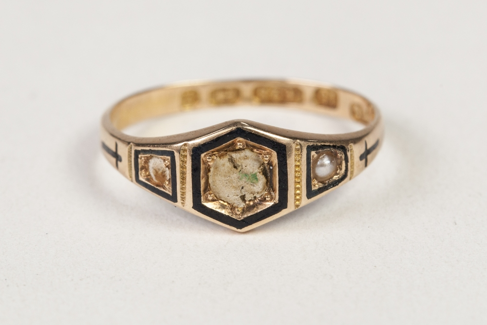 Lot 36 - VICTORIAN 15ct GOLD AND BLACK ENAMELLED AND PEARL MOURNING RING, Birmingham 1874 (two pearls