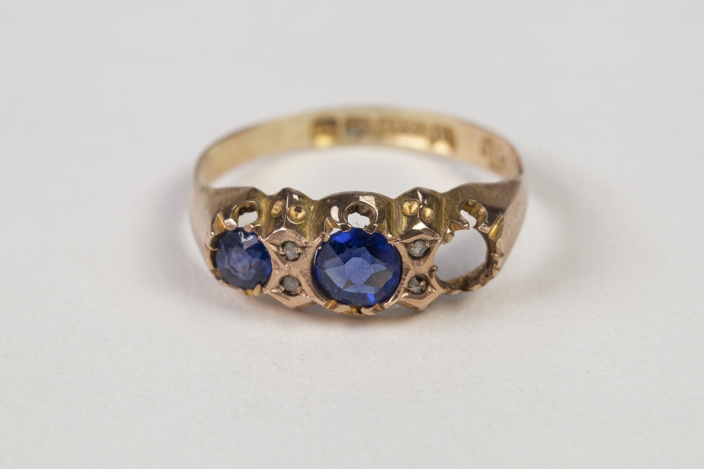 Lot 46 - EDWARDIAN 9ct GOLD RING, set with two sapphires (one missing) and two pairs of tiny diamonds,