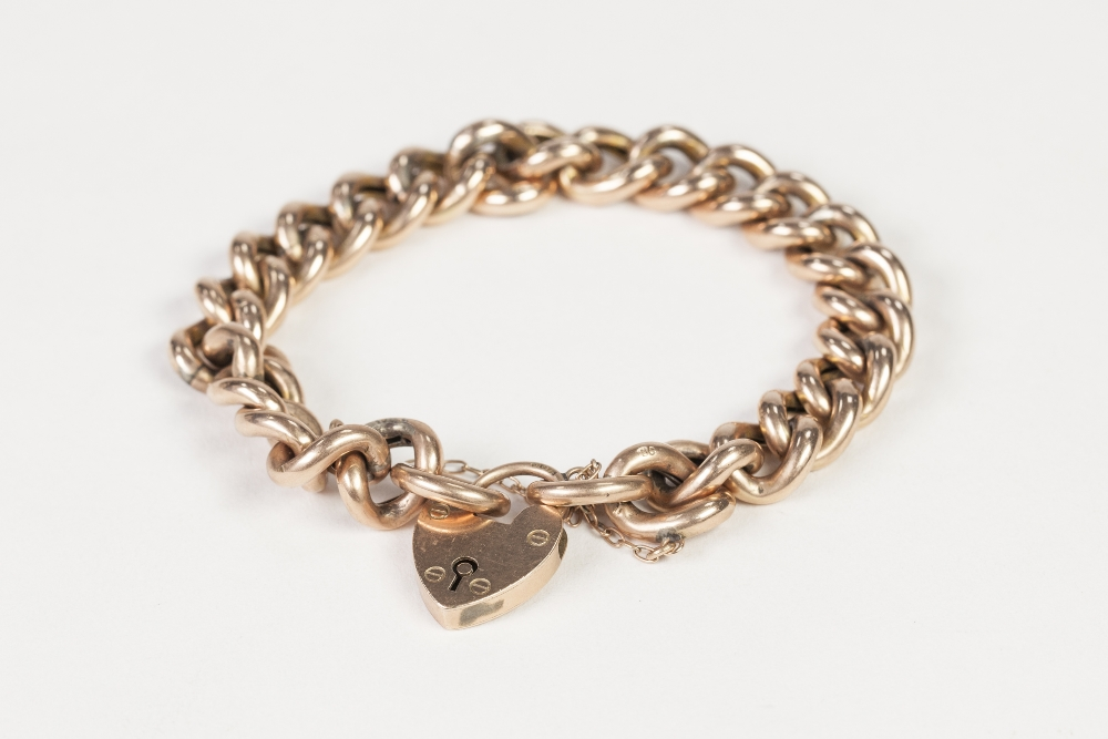 Lot 52 - EDWARDIAN 9ct GOLD BRACELET, with hollow curb pattern links, and 9ct gold padlock clasp,