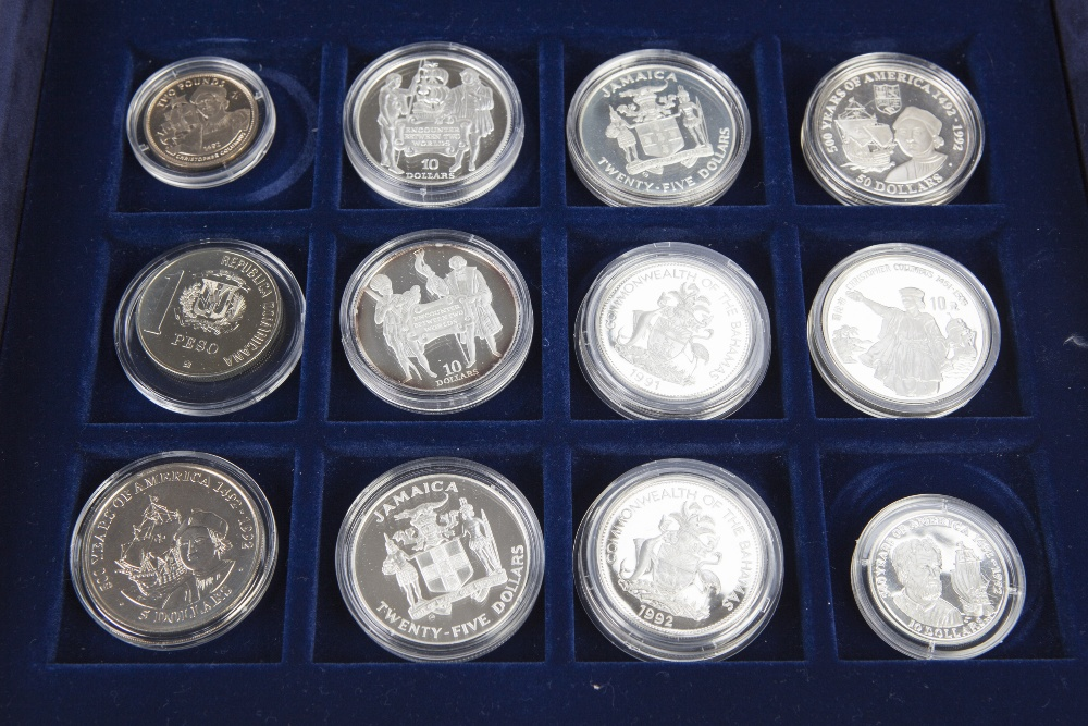 Lot 30 - CASED SET OF TWENTY FOUR '500TH ANNIVERSARY OF THE DISCOVERY OF AMERICA'SILVER PROOF COINS,