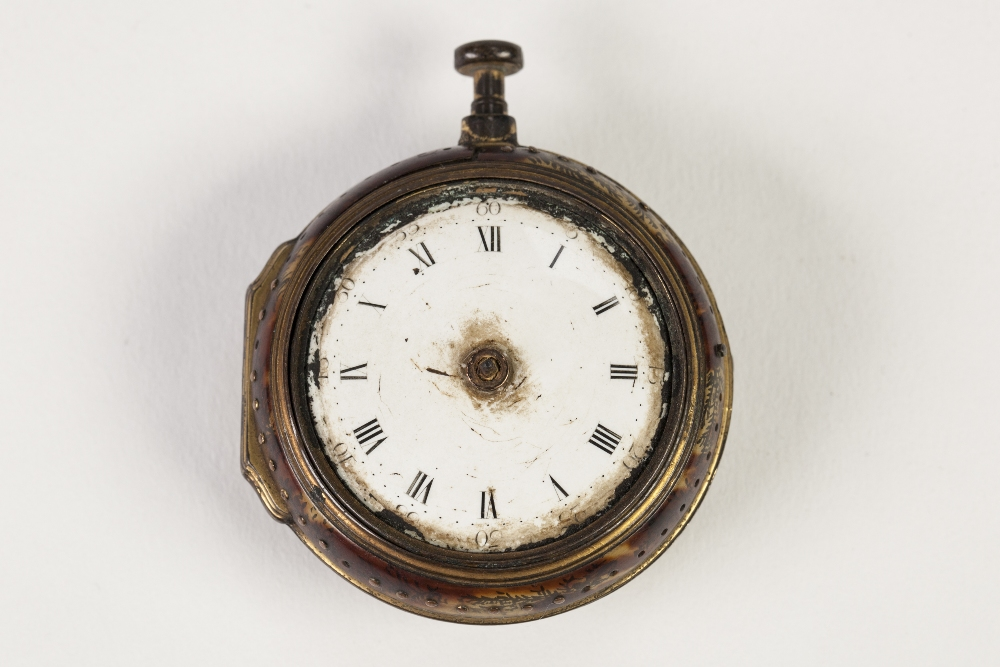 Lot 7 - LATE 18TH CENTURY SMALL GILT METAL PAIR CASED POCKET WATCH the inner plate inscribed GEO BOOTH