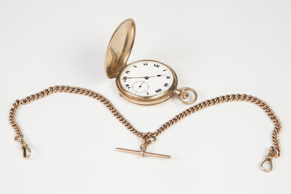 Lot 14 - 9ct GOLD CASED HUNTER POCKET WATCH with self-wind movement, white enamel Roman dial with seconds