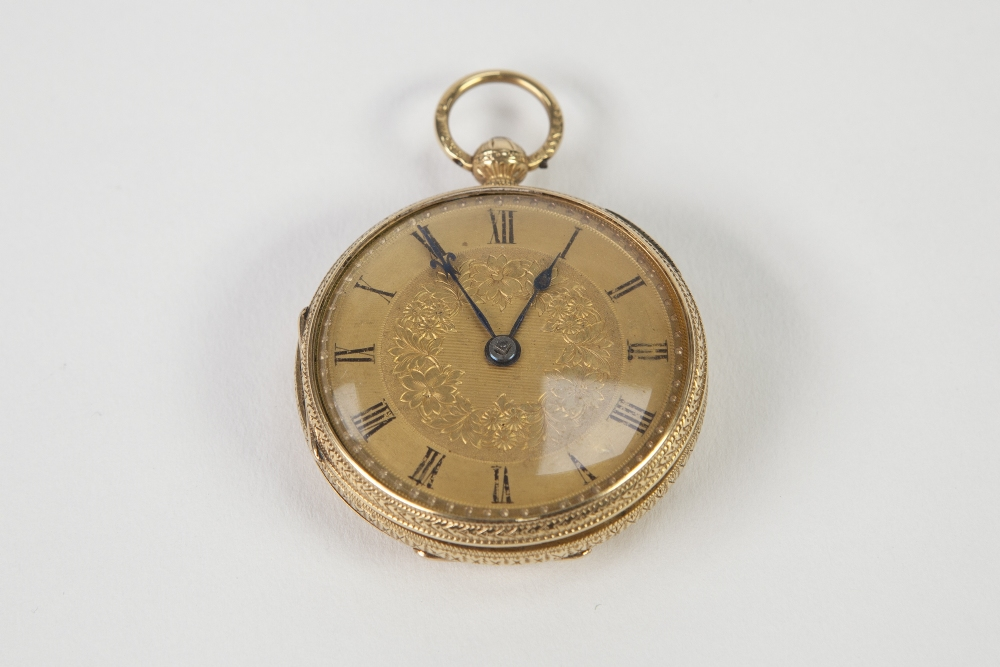 Lot 10 - VICTORIAN 18ct GOLD OPEN FACED POCKET WATCH, with keywind movement, floral engraved 'Gold' Arabic