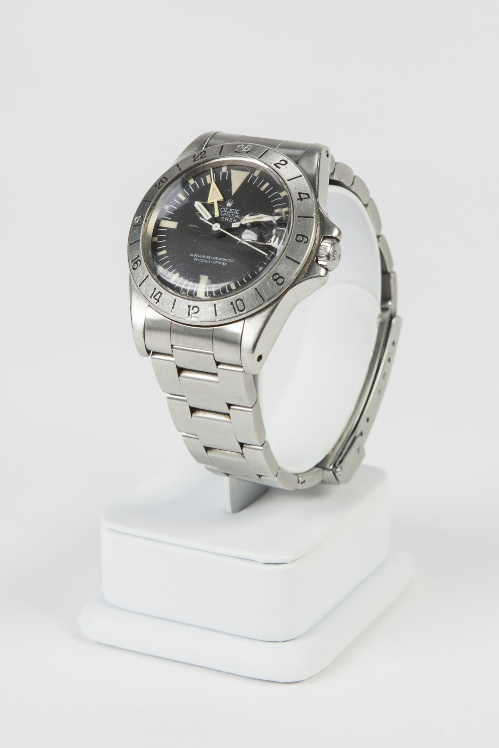 Lot 15 - GENT'S RARE VINTAGE STAINLESS STEEL ROLEX EXPLORER II OYSTER PERPETUAL 'OFFICIAL CERTIFIED'