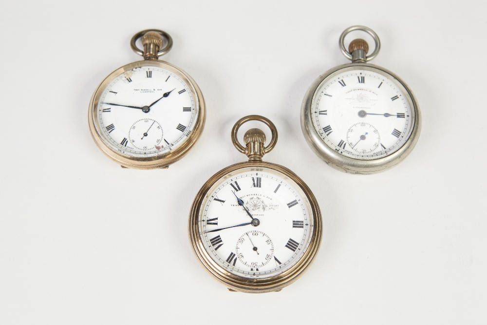 Lot 21 - THOMAS RUSSELL, LIVERPOOL ROLLED GOLD OPEN FACED POCKET WATCH, in gold open faced pocket watch in