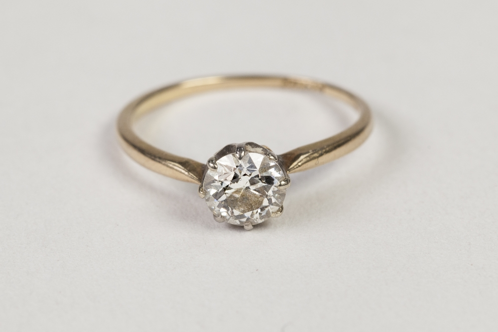 Lot 49 - 18ct GOLD RING, set with a solitaire diamond, approx .60ct, 1.4ct, ring size 'I/J'