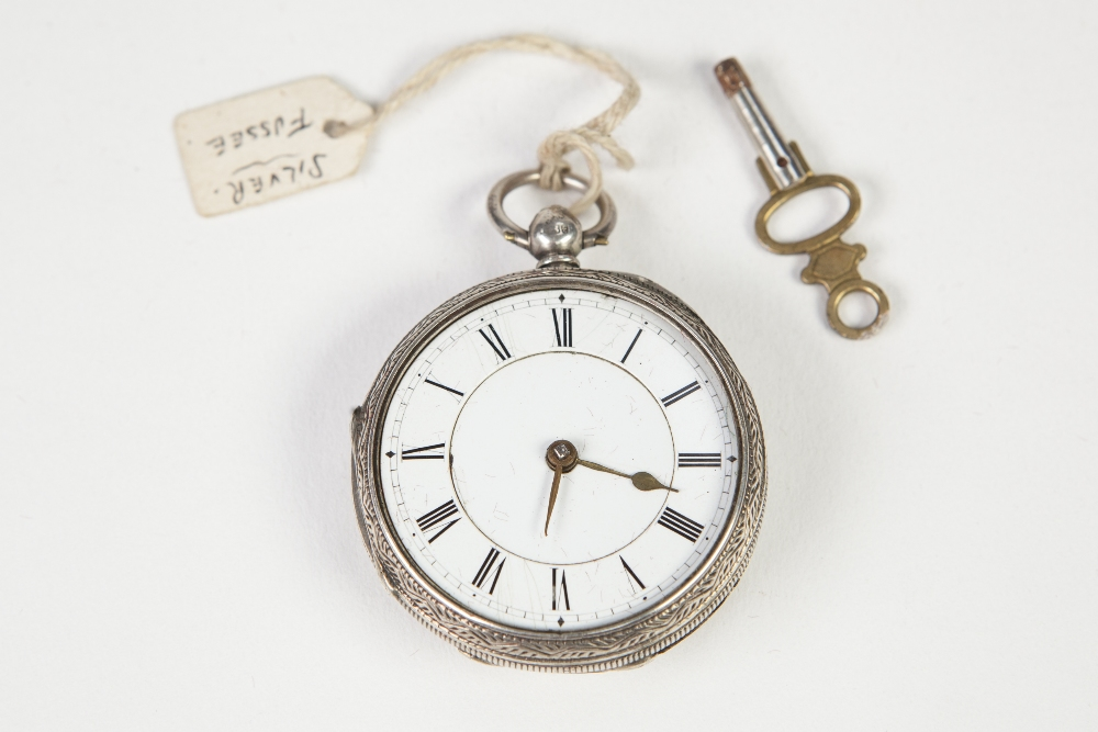 Lot 1 - ROBINSON, SHREWSBURY, VICTORIAN SILVER POCKET WATCH, with keywind movement, white Roman dial, London