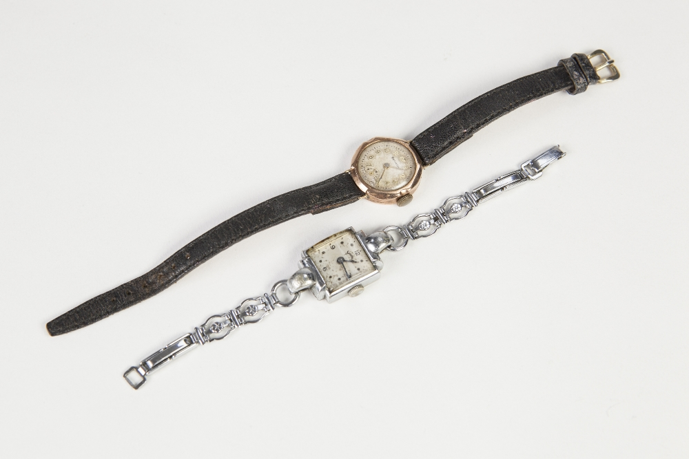 Lot 2 - LADIES HELVETIA 9CT GOLD CASED WRIST WATCH, circular silvered dial with gilt Arabic numerals and