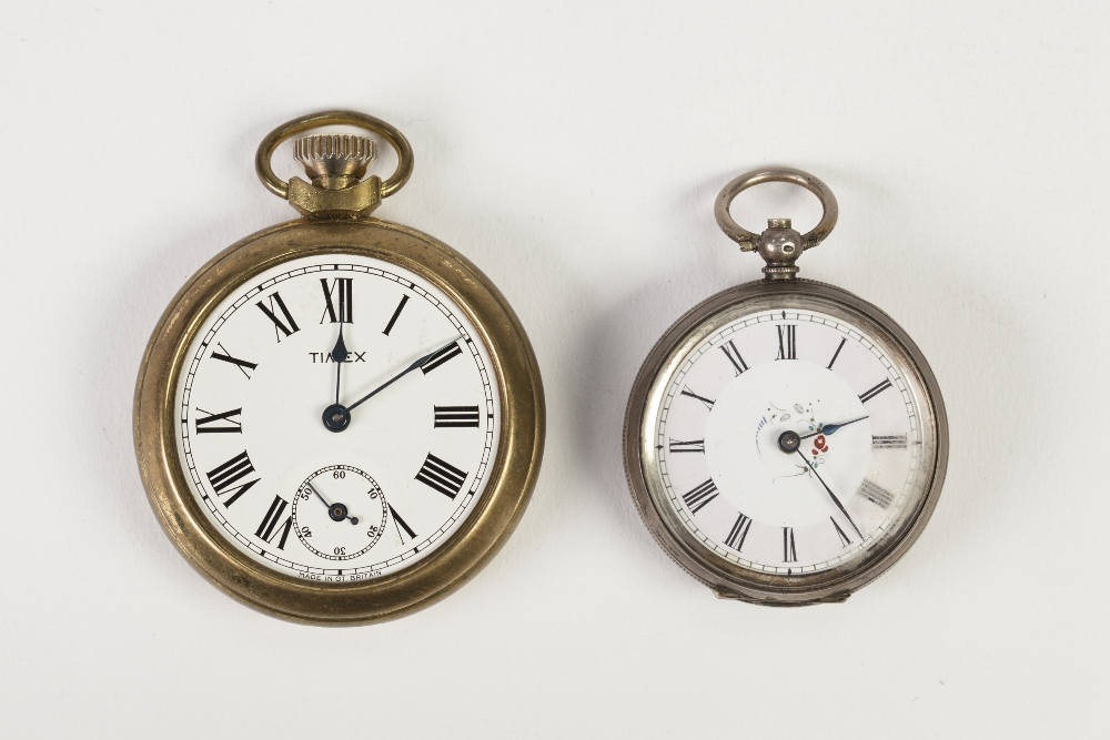 Lot 5 - EARLY 20TH SMALL OPEN FACE POCKET WATCH with 800 mark silver foliate engraved case, the white