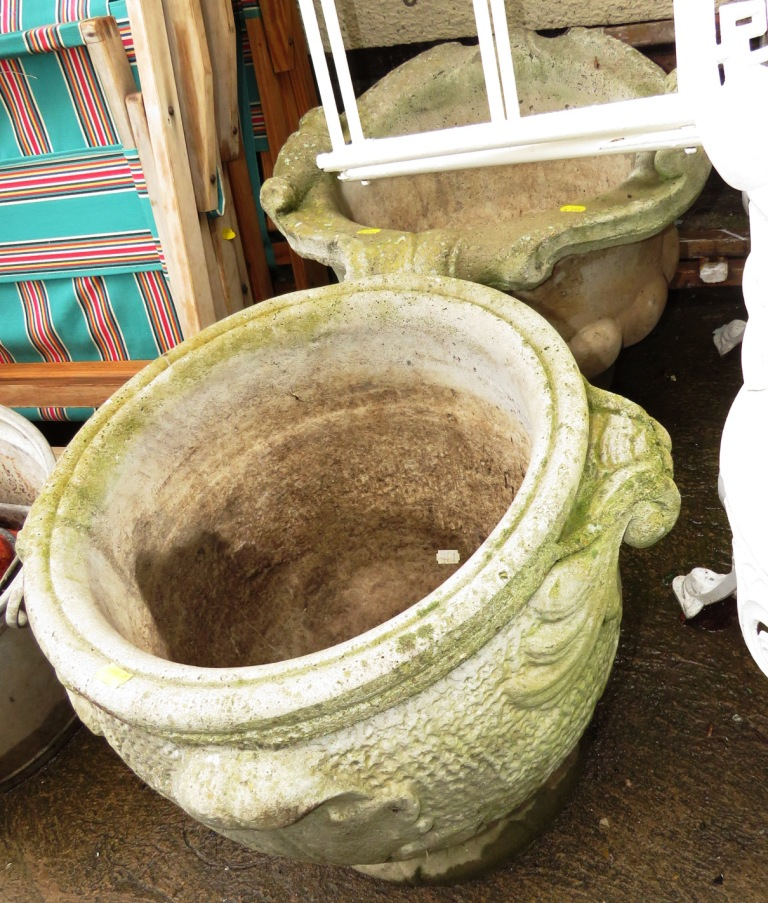 Lot 18 - TWO LARGE COMPOSITE STONE PLANTERS