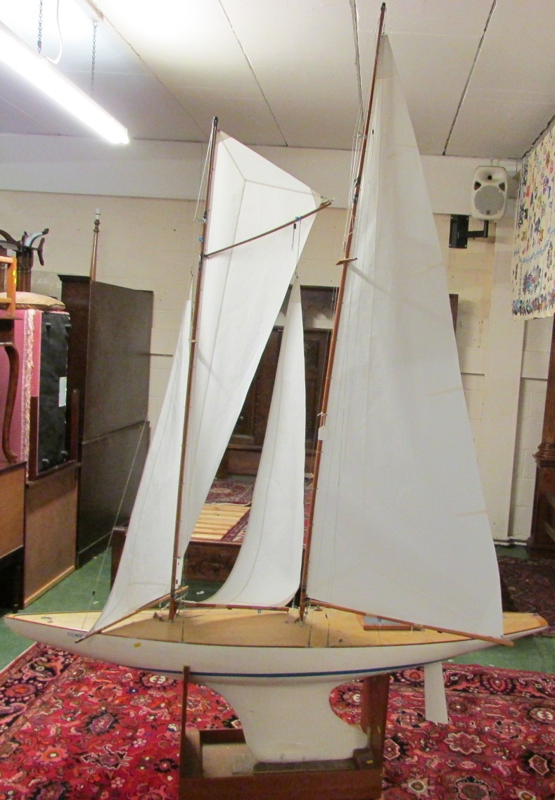 Lot 72 - A large radio controlled two-masted pond yacht, length 187cm, height of main mast 210cm, overall