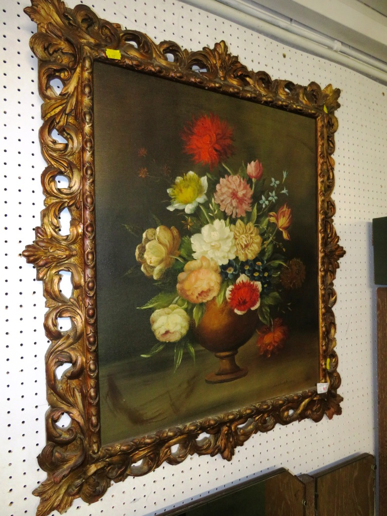 Lot 97 - OIL ON CANVAS OF STILL LIFE OF FLOWERS IN GILT FRAME