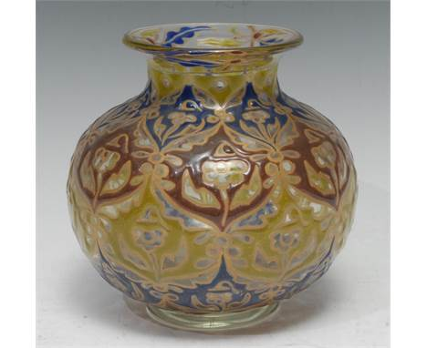 A Emile Galle, Nancy type ovoid vase, enamelled with blue, olive and green outlined in gilt, everted neck, 16cm high,  bears