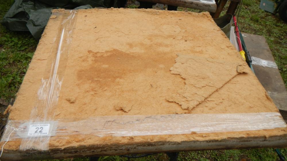 Lot 22 - An old cast aluminium triple legged table - top a/f