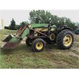 730 John Deere 2wd Diesel Tractor C/W Front End Loader, 540PTO, Gas Pup Motor Start, Rear Hyd, Power