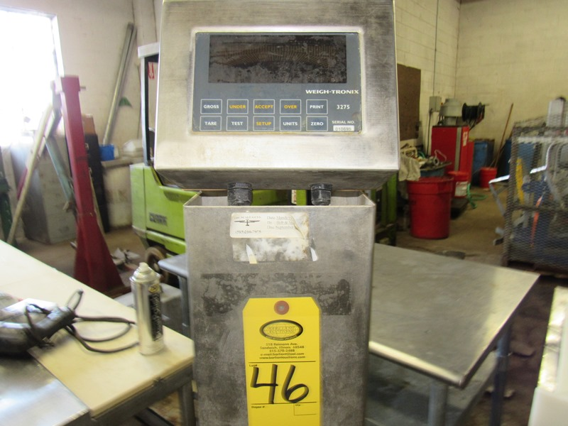 """Lot 46 - Weigh-Tronix Mdl. 3725 Digital Scale, 20"""" X 20"""" stainless steel platform on stand;*** All Funds Must"""