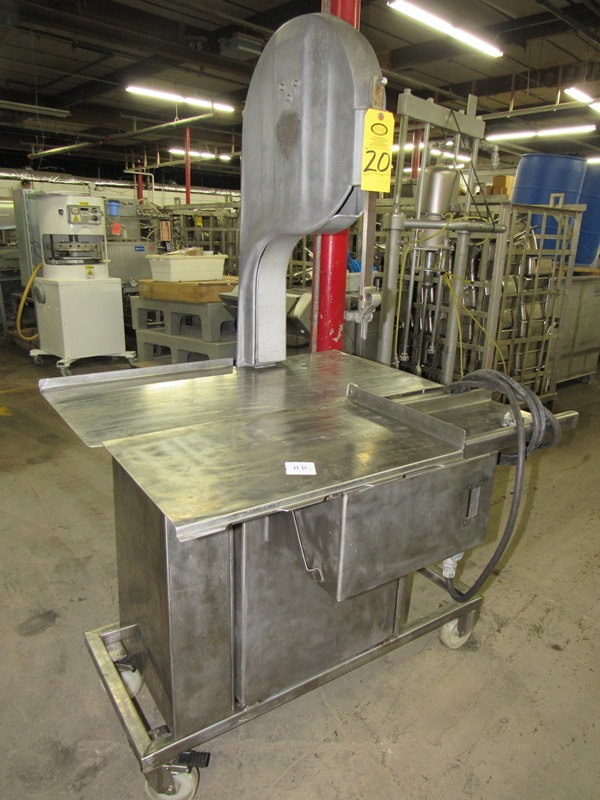 Lot 20 - Biro Band Saw, aluminum head, stainless steel table, on wheels;*** All Funds Must Be Received By