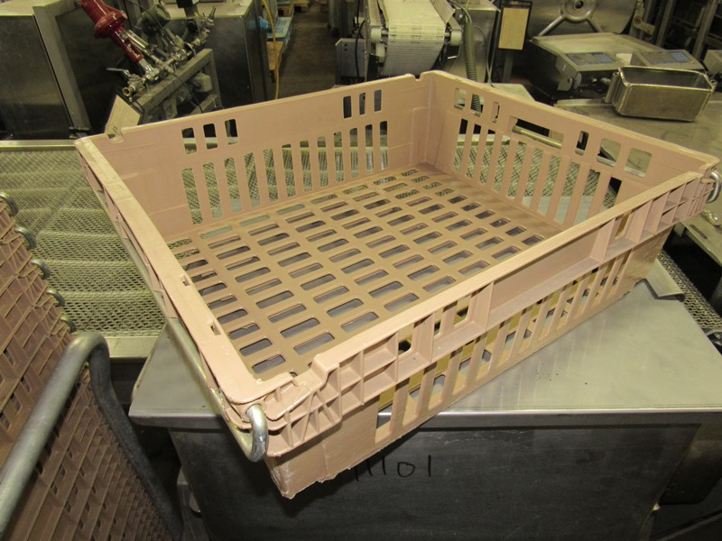 "Lot 18 - Koch Beige Meat Lugs, 18 1/2"" W X 22"" L X 6"" D, w/aluminum cart;*** All Funds Must Be Received By"