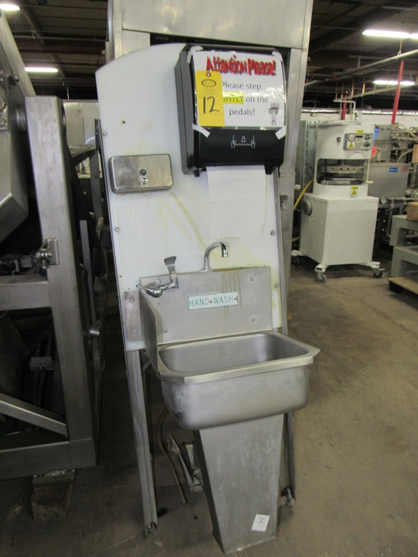 "Lot 12 - Koch Stainless Steel Handwash Station Sink, foot pedel activation, soap towel dispensers, 24"" W X"