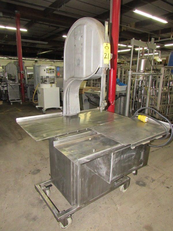 Lot 21 - Biro Band Saw, aluminum head, stainless steel table, on wheels;*** All Funds Must Be Received By