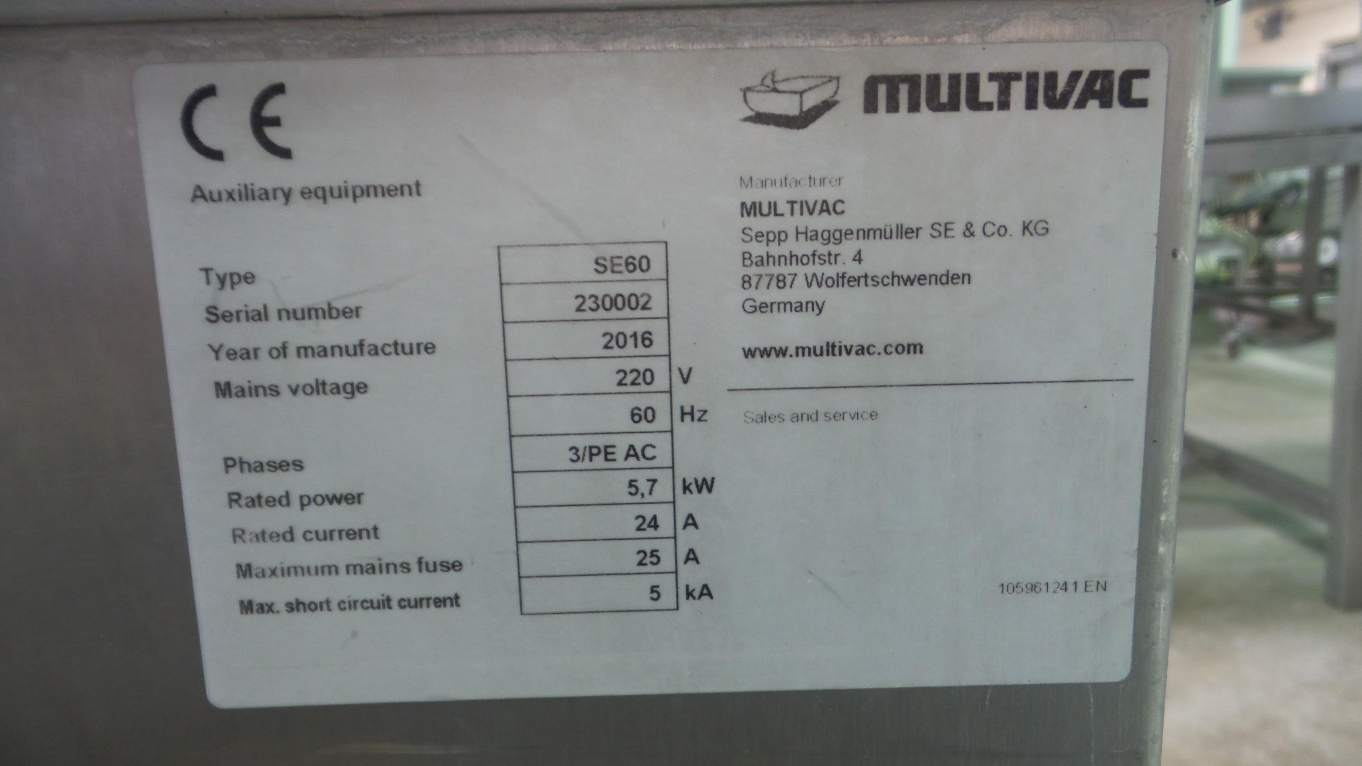 Lot 6 - Multivac Mdl. SE60 Dip Tank, touchscreen controls, foot pedal activation220 volt, 3 phase, Ser. #