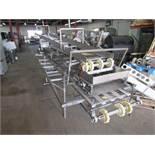 "Stainless Steel Boning Table/Conveyor, 18"" W X 15' L w/ceiling mounted takeaway conveyor, missing"