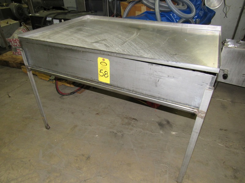 "Lot 58 - Lot Stainless Steel Trough, 35"" W X 52"" L X 8"" D with lid, (1) Stainless Steel Table, 33"" W X 58"""